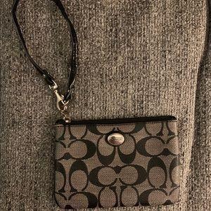 Coach gray & black signature Zip wristlet